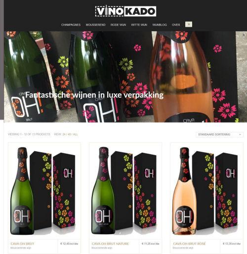 Webshop voor Vinokado wijn en doos