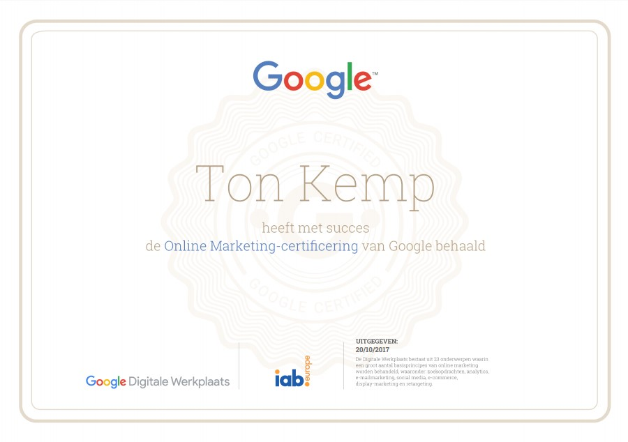 Ton Kemp google online marketingcertificaat