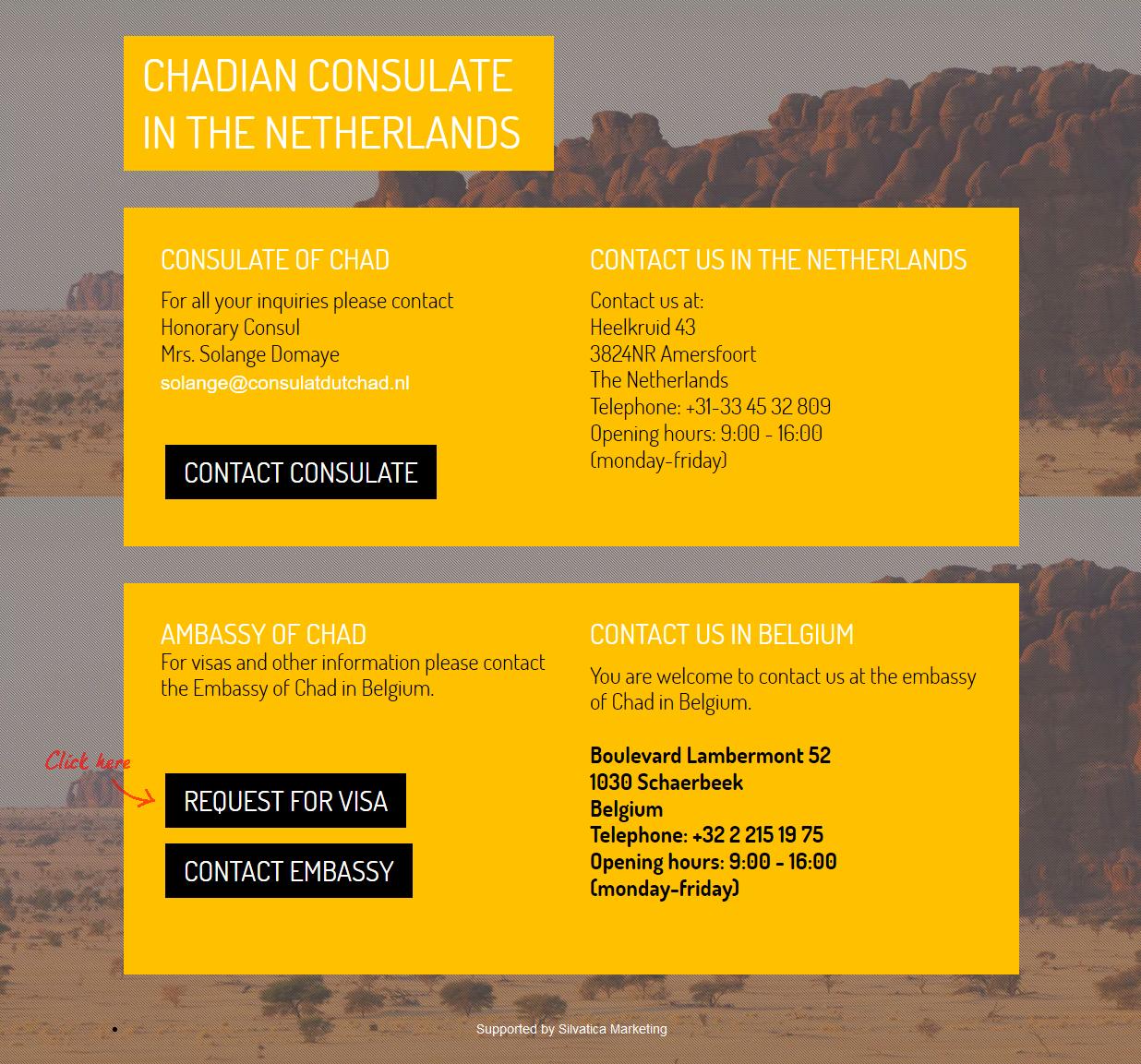 consulat du tchad landingpage
